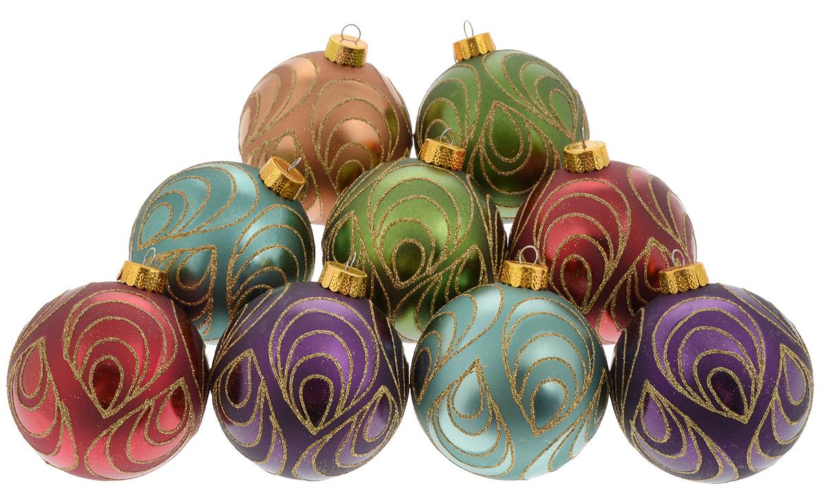 """Набор подвесных украшений """"Christmas Time"""" прекрасно  подойдет для праздничного декора новогодней ели. Набор  состоит из 9 украшений разных цветов в виде шаров.  Изделия выполнены из пластика и декорированы блестками.  Для удобного размещения на елке для каждого украшения  предусмотрено ушко для петельки.  Елочная игрушка - символ Нового года. Она несет в себе  волшебство и красоту праздника. Создайте в своем доме  атмосферу веселья и радости, украшая новогоднюю елку  нарядными игрушками, которые будут из года в год  накапливать теплоту воспоминаний.  Откройте для себя удивительный мир сказок и грез.  Почувствуйте волшебные минуты ожидания праздника,  создайте новогоднее настроение вашим дорогим и близким.  Диаметр украшения: 8 см."""