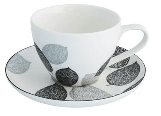 Чайная пара Esprado Bosqua Platina, цвет: белый, черный, 315 млBPL031SE303Чайная пара Esprado Bosqua Platina состоит из чашки и блюдца, изготовленных из костяного фарфора высшего качества, отличающегося необыкновенной прочностью и небольшим весом. Яркий дизайн, несомненно, придется вам по вкусу.Чайная пара Bosqua Platina украсит ваш кухонный стол, а также станет замечательным подарком к любому празднику.