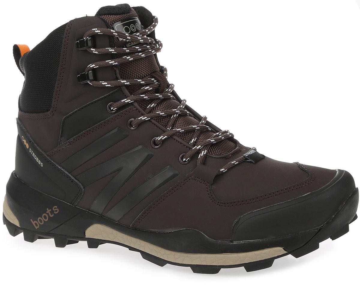 Ботинки мужские Strobbs, цвет: коричневый. C9064-17. Размер 42C9064-17Стильные мужские ботинки Strobbs, выполненные в спортивном стиле, прекрасно подойдут для активного отдыха и повседневной носки. Верх изготовлен из микрофибры со вставками из синтетической кожи. Подкладка из искусственного меха не даст ногам замерзнуть. Удобная шнуровка надежно зафиксирует модель на стопе. Подошва обеспечит легкость и естественную свободу движений. В таких ботинках вашим ногам будет тепло и комфортно.