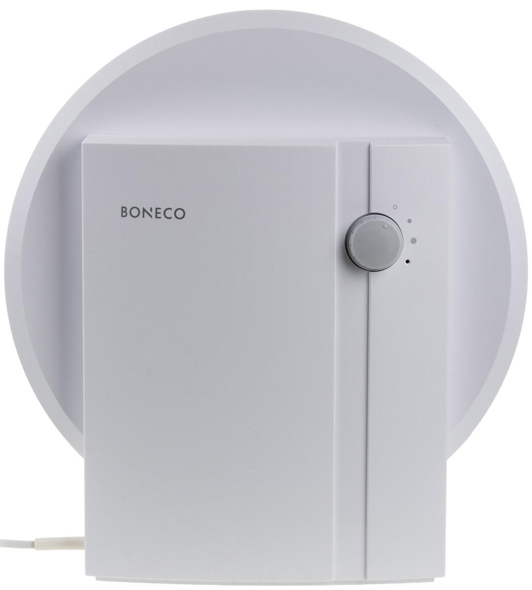 Boneco W1355A мойка воздухаНС-1032821Мойка воздуха Boneco W1355A — эффективный прибор для увлажнения и очистки воздуха в жилых и офисных помещениях. Boneco W1355A отличается от своих «коллег» по товарной категории достаточно скромным функционалом. Однако это никак не отражается на эффективности работы серии W1355A. Увлажнение и очистка воздуха в приборе Boneco W1355A осуществляется без использования сменных фильтров, поскольку роль сменных фильтров выполняет вода. Прибор может работать в двух режимах: более и менее интенсивный («ночной» режим). Boneco W1355A демонстрирует высокую эффективность при крайне низком энергопотреблении. Увлажнение и очистка воздуха осуществляется без использования химикатов.Рекомендуемая площадь/объем обслуживаемого помещения: не более 50 м2/125 м3.