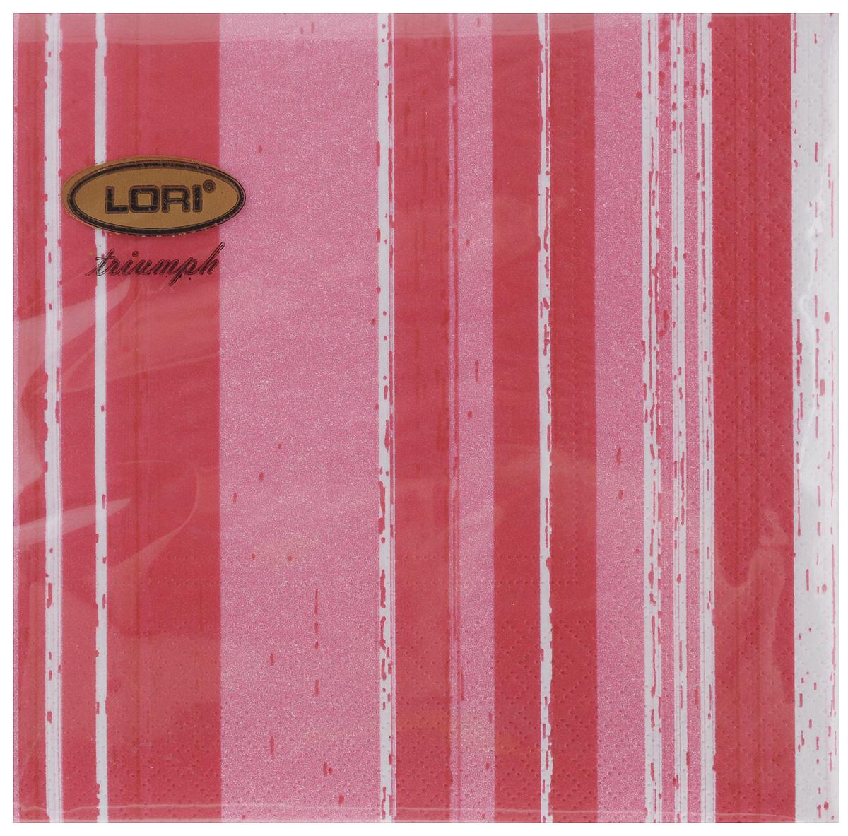 Салфетки бумажные Lori Triumph Полоски, трехслойные, цвет: красный, белый, 33 х 33 см, 20 шт56057Декоративные трехслойные салфетки Lori Triumph Полоски выполнены из 100% целлюлозы и оформлены ярким рисунком. Изделия станут отличным дополнением любого праздничного стола. Они отличаются необычной мягкостью, прочностью и оригинальностью.Размер салфеток в развернутом виде: 33 х 33 см.