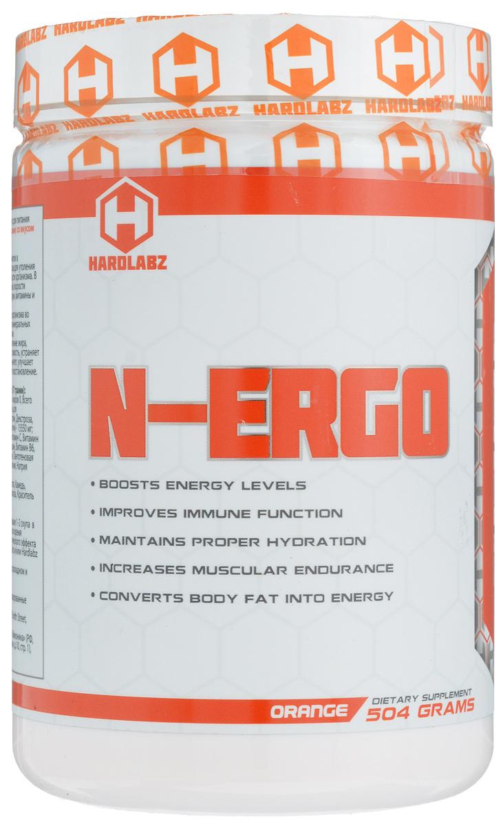 Изотоник Hardlabz N-Ergo, апельсин, 510 г0098Изотоник Hardlabz N-Ergo – это спортивный изотонический напиток, который помогает восстанавливаться организму после длительных физических нагрузок, таких как бег, плавание, езда на велосипеде и др.N-Ergo от Hardlabz – изотонический напиток в порошковой форме с прекрасным вкусом для утоления жажды и поддержания работоспособности организма. Продукт препятствует обезвоживанию организма во время тренировок, восполняет потерю минеральных солей, витаминов и электролитов, является источником дополнительной энергии, ускоряет сжигание жира, повышает работоспособность и выносливость, устраняет физическую усталость, повышает иммунитет, улучшает общее состояние организма и ускоряет восстановление.Ингредиентный состав на 1 порцию (17 грамм): калории 56, калории из жиров 0, всего жиров 0, всего углеводов 14 г, из них сахара 10 г.Смесь для восстановления (сукроза, мальтодекстрин, декстроза, фруктоза, L-таурин, L-глутамин, L-карнитин) - 15500 мг; смесь для выносливости (витамин A, витамин C, витамин D, витамин E, тиамин, рибофлавин, ниацин, витамин B6, фолиевая кислота, витамин B12, биотин, пантотеновая кислота, фосфат кальция, карбонат магния, натрия хлорид, калия фосфат) - 256 мг.Другие ингредиенты: лимонная кислота, камедь, вкусозаменители, сукралоза, красители.Рекомендации по применению: добавьте 1-2 скупа в 300-700 мл воды. Принимайте напиток во время тренировки. Для повышения синергетического эффекта принимайте вместе с Hardlabz BCAA Blast и/или Hardlabz Pro Whey.Товар сертифицирован.Как повысить эффективность тренировок с помощью спортивного питания? Статья OZON Гид