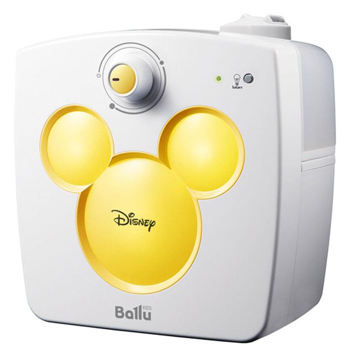 Ballu UHB-240 Disney, Yellow ультразвуковой увлажнитель воздухаНС-1054835Увлажнитель воздуха Ballu UHB-240 Disney предназначен для поддержания комфортного уровня влажности в детской комнате.В отопительный период влажность воздуха в помещениях существенно ниже нормы (40-60%). Сухой воздух способствует распространению вирусных заболеваний, приводит к повышению утомляемости, сушит слизистые и может стать причиной рези в глазах и головной боли.Специально для детей разработана уникальная серия увлажнителей Ballu Kids, включающая в себя приборы с образами популярных героев анимационных фильмов.Совместно с художниками и дизайнерами Disney была создана модель Ballu UHB-240, которая сочетает в себе функцию увлажнителя и светильника – ночника.В приборе предусмотрена возможность регулировки скорости увлажнения, а поворотный 2-х струйный распылитель позволит направить поток воздуха в нужную сторону. Прибор автоматически остановит работу при минимальном уровне воды, а прорезиненные ножки исключат его скольжение по любым поверхностям.Встроенный светильник – ночник поможет создать в детской комнате комфортные условия для спокойного сна.Поворотный 2-х струйный распылительИндикация режима работыПротивоскользящие ножки