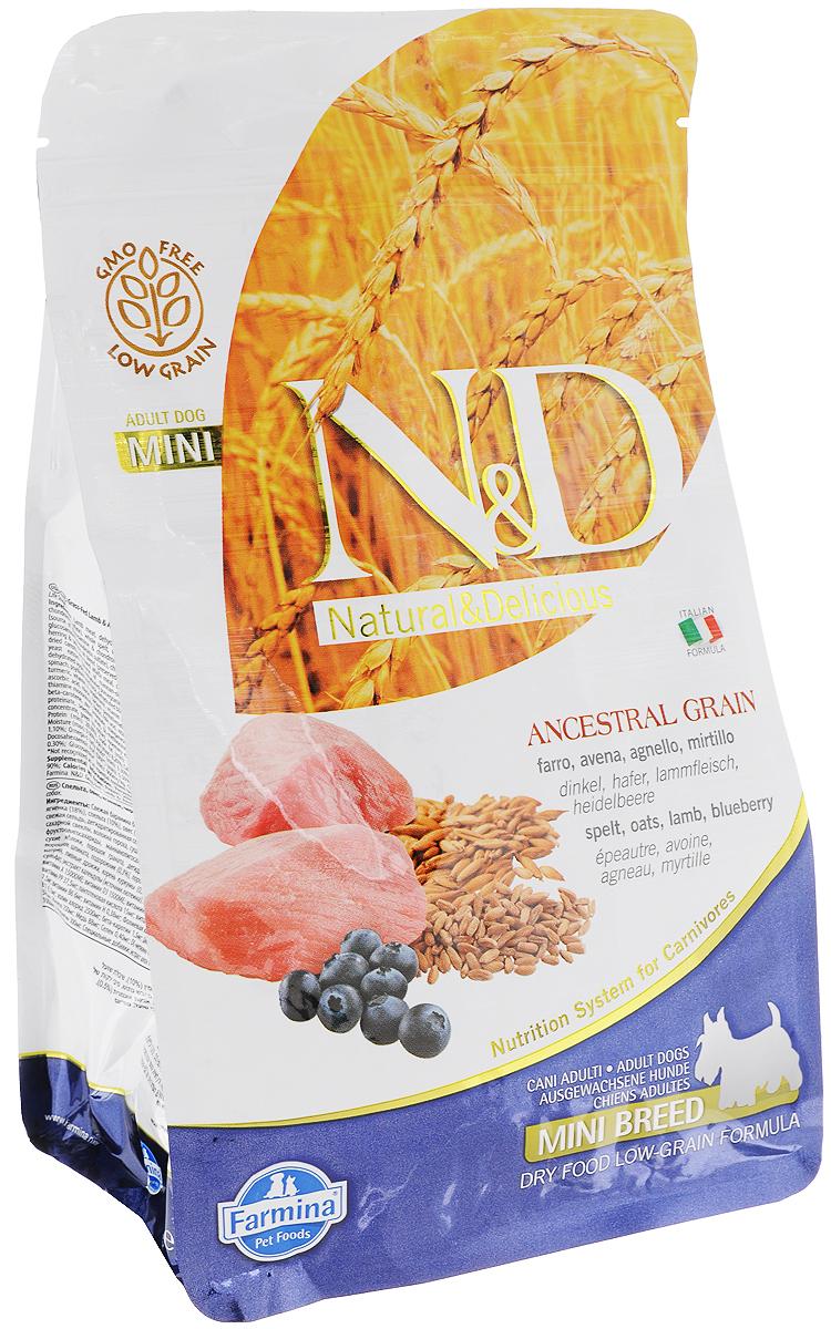 Корм сухой Farmina N&D, для собак мелких пород, низкозерновой, с ягненком и черникой, 800 г корм для собак хиллс d d при аллергии утка рис сух пак 5кг