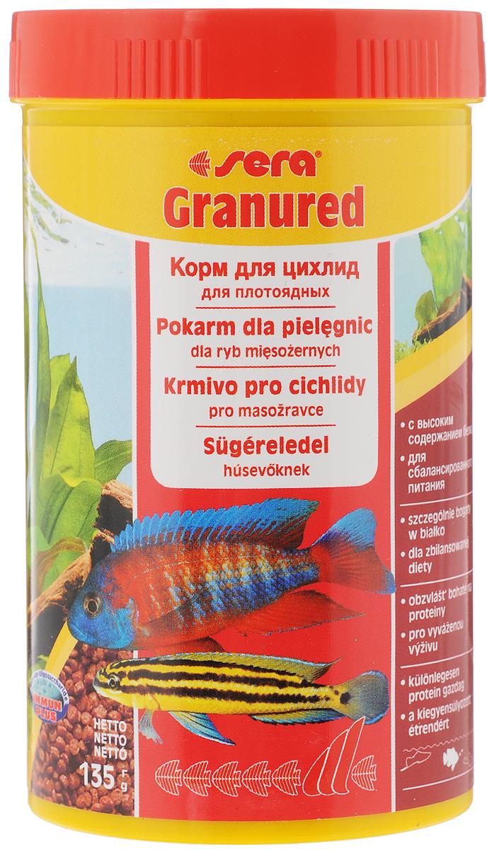 Корм Sera Granured, для плотоядных рыб, 135 г корм для рыб sera arowana 1000 мл 360 г