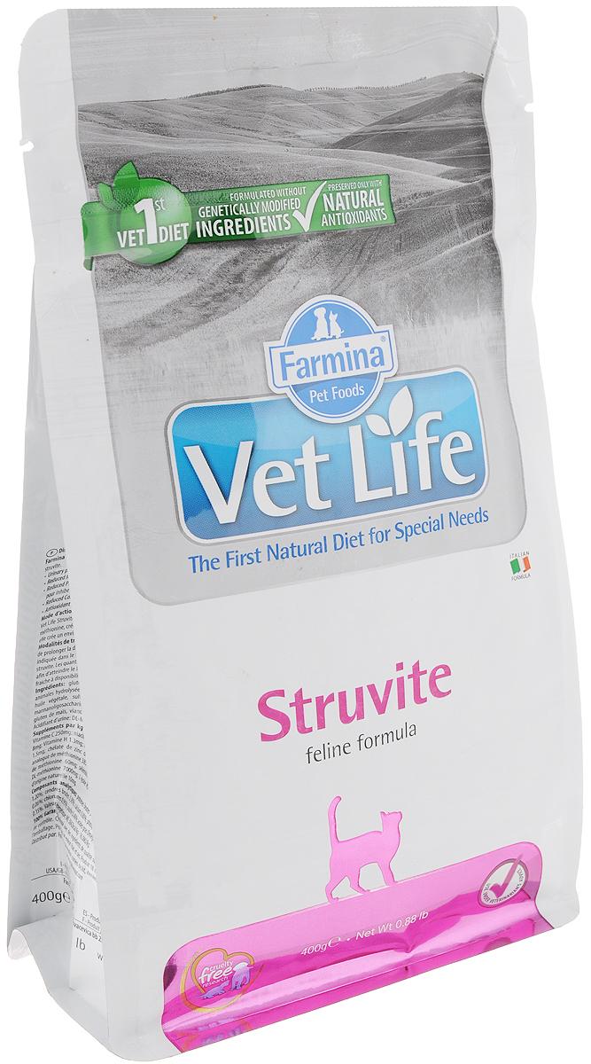 Корм сухой для кошек Farmina Vet Life, диетический, для растворения струвитных уролитов, 400 г корм сухой farmina vet life для кошек с нарушениями процессов переваривания и всасывания в кишечнике 400 г