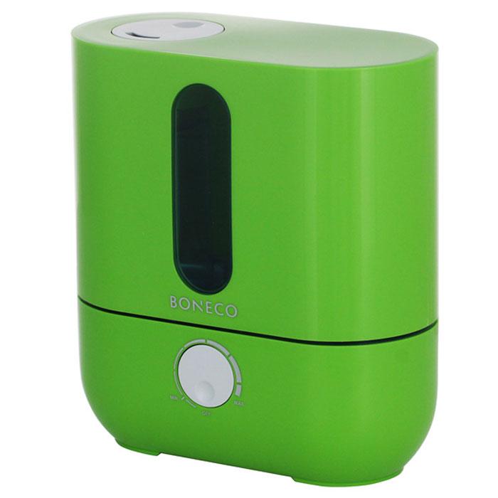 Boneco U201A, Green ультразвуковой увлажнитель воздухаНС-1031209Ультразвуковой увлажнитель воздуха Boneco U201A отличается высокой производительностью увлажнения (300 г/час) при низком потреблении электроэнергии (20 Вт). Модель работает очень тихо даже на максимальной скорости увлажнения, поэтому не потревожит вас во время сна или работы. В Boneco U201A предусмотрена синяя подсветка – ночник (окно резервуара с водой). При необходимости подсветку можно отключить. Элегантный дизайн прибора вместе с подсветкой станет стильным и полезным дополнением к интерьеру.Внутри увлажнителя установлена мембрана, которая после включения прибора начинает вибрировать в ультразвуковом диапазоне частот. В результате колебаний на поверхности воды образуется туман (эмульсия из мелких капель воды и воздуха). Вентилятор, установленный внутри увлажнителя выдувает образовавшееся облако через распылитель в помещение (капли воды имеют сверх малый объем, поэтому они моментально превращаются в пар, и таким образом, насыщают воздух влагой).Для предотвращения белого налета на мебели в Boneco U201A предусмотрен сменный фильтр–картридж с ионообменной смолой. Также увлажнитель оснащен ионизирующим серебряным стержнем Ionic Silver Stick (ISS), который предотвращает размножение бактерий и цветение воды в поддоне.В данной модели предусмотрена возможность ароматизации помещения. Ароматерапия признана многими врачами в качестве эффективного способа улучшения самочувствия. Грамотно организованный ароматерапевтический процесс улучшает настроение, укрепляет иммунитет и в целом способствует более позитивному восприятию жизни.Чтобы сделать процесс эксплуатации увлажнителя максимально простым и использовать водопроводную воду для увлажнения, во всех ультразвуковых увлажнителях Boneco предусмотрен фильтр - картридж с ионообменной смолой, срок службы которого 3–4 месяца (в зависимости от качества водопроводной воды и частоты использования прибора).Синяя подсветка резервуараИндикатор низкого уровня водыРегулятор и