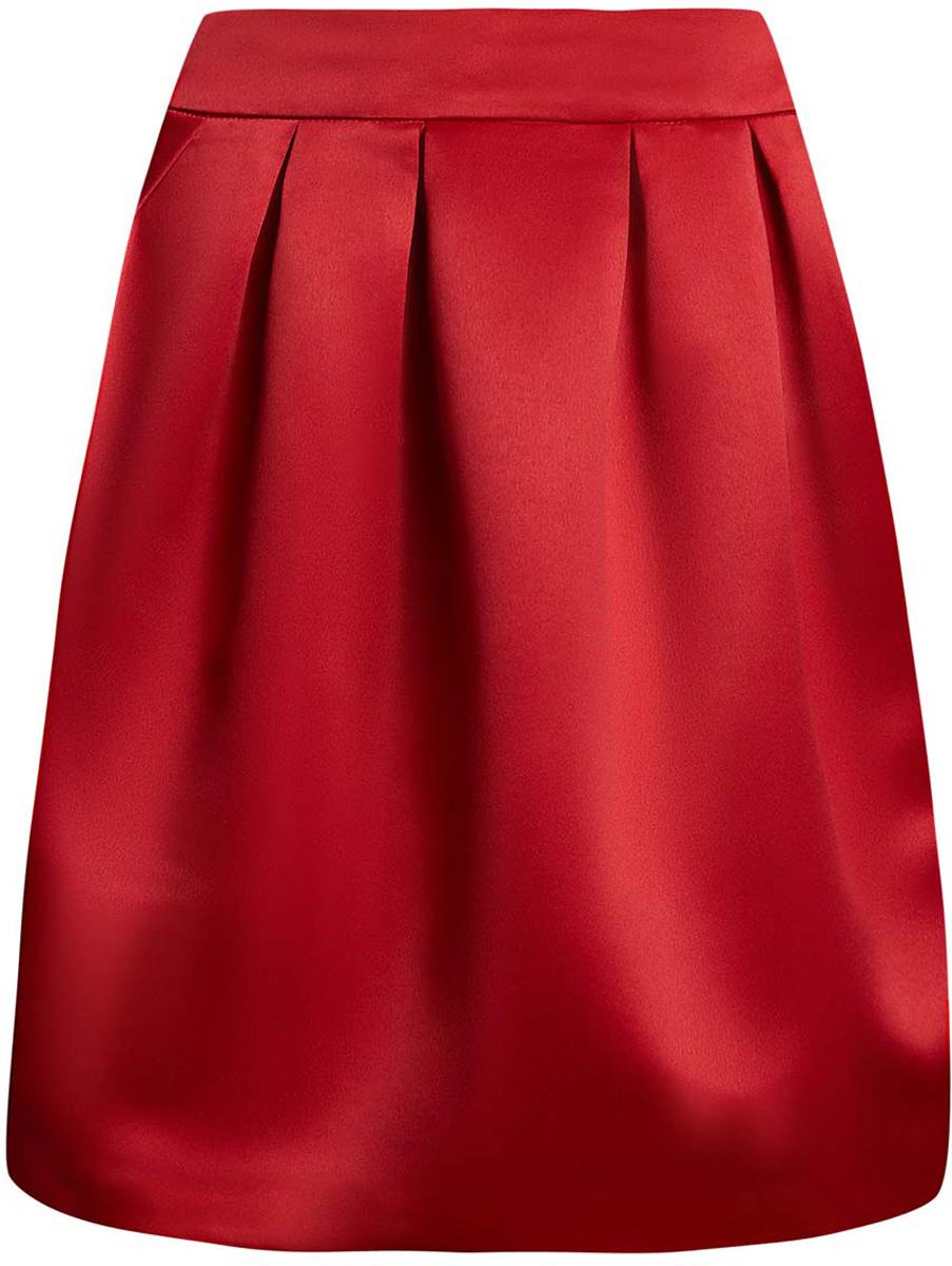 Юбка oodji Ultra, цвет: красный. 11600388-4/24393/4500N. Размер 42 (48-170)11600388-4/24393/4500NСтильная юбка oodji Ultra выполнена из высококачественного полиэстера. Модель-миди декорирована складками, дополнена потайной застежкой-молнией сзади и прорезными карманами по боковым сторонам. Оформлена юбка в лаконичном дизайне.