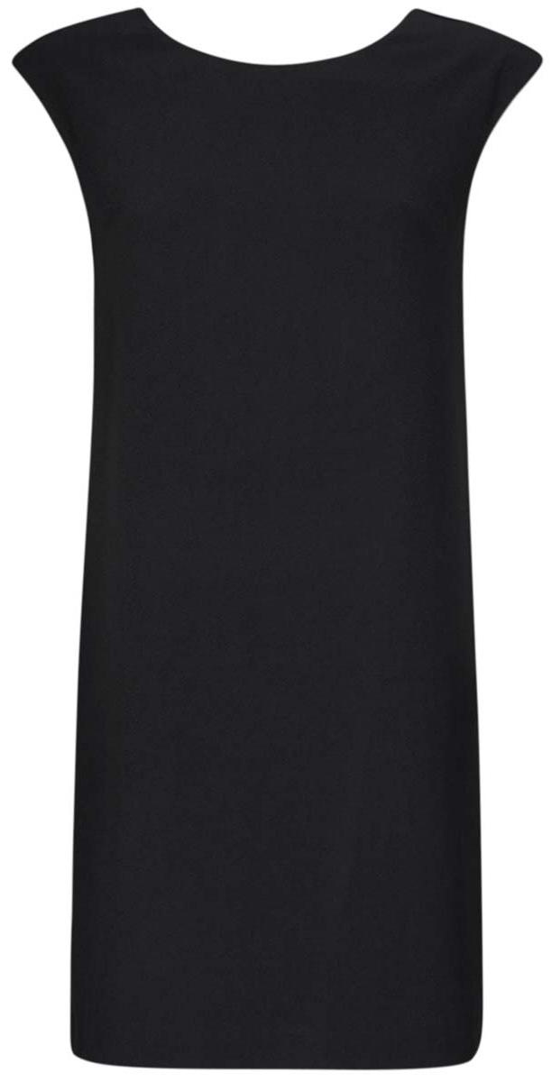 Платье oodji Ultra, цвет: черный. 11905031/46068/2900N. Размер 36 (42-170)11905031/46068/2900NСтильное платье oodji Ultra выполнено из полиэстера с добавлением полиуретана. Модель прямого фасона с глубоким вырезом на спинке, круглым вырезом горловины и без рукавов.