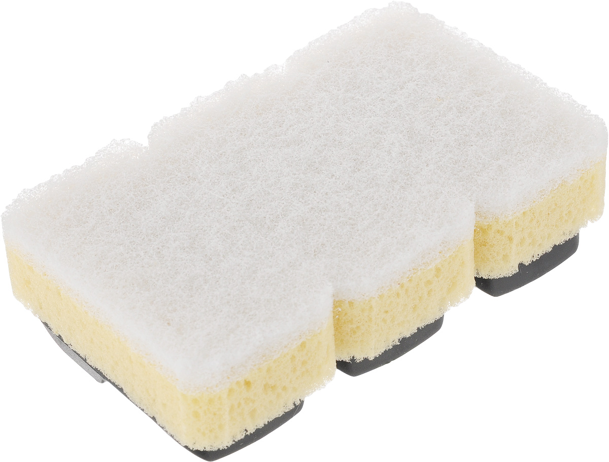Губка Dishmatic, сменная, для деликатных поверхностей, 3 шт116-01-1256/4805Набор Dishmatic предназначен для замены изношенных губок в изделиях бренда Dishmatic. Губка отлично очищает загрязнения, а мягкий внутренний слой хорошо впитывает и вспенивает моющее средство. Изделие подходит для антипригарных покрытий и других чувствительных поверхностей.Губки изготовлены из переработанных материалов.Они позволяют позаботиться не только о чистоте в доме, но и о природе. Размер одной губки: 7,6 х 4,2 х 2,4 см.