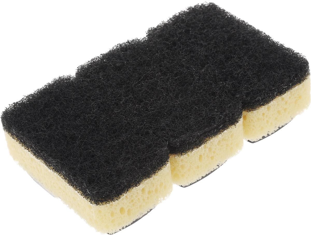 Губка Dishmatic, сменная, 3 шт116-01-1282/4812Набор Dishmatic предназначен для замены изношенных губок в изделиях бренда Dishmatic. Губка отлично очищает сильные загрязнения, а мягкий внутренний слой хорошо впитывает и вспенивает моющее средство. Губки изготовлены из переработанных материалов. Они позволяют позаботиться не только о чистоте в доме, но и о природе.Размер одной губки: 7,6 х 4,2 х 2,4 см.