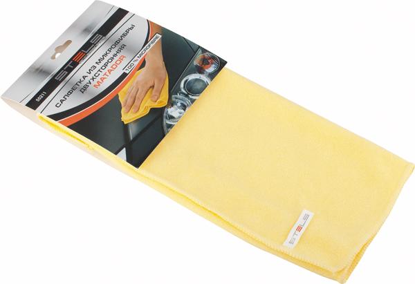 Салфетка автомобильная Stels Matador, двухсторонняя, 35 х 40 см55211Автомобильная салфетка Stels Matador выполнена из микрофибры. Такая двухсторонняя салфетка оснащена с ворсом высокой плотности. Мягкий ворс - для деликатной чистки поверхности, жесткий ворс - для удаления въевшихся загрязнений. Эффективно удаляет все виды загрязнений. Не оставляет ворсинок и разводов, не царапает поверхность, проникая в микротрещины, устраняет бактерии и микробы, впитывает жидкости больше, чем обычная ткань.