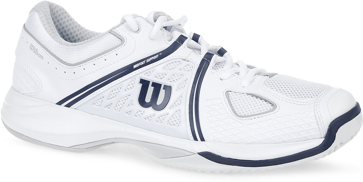 Кроссовки для тенниса мужские Wilson Nvision, цвет: белый, черный. WRS320820. Размер 10,5 (44)WRS320820Стильные мужские кроссовки для тенниса Nvision от Wilson предлагают теннисистам необходимый им комфорт и гибкость.Универсальные кроссовки с высококлассной устойчивостью и комфортом. Верх модели выполнен из искусственной кожи с перфорацией, дополненной вставками из дышащего текстиля, и оформлен названием и логотипом бренда. Классическая шнуровка гарантирует удобство и надежно фиксирует модель на ноге. Усиленный мыс для более надежной защиты. Технология Dynamic Fit - DF2: высота средней части подошвы - 9 мм. Технология R-DST: вставка из химически активных веществ в пяточной части обеспечивает максимальную амортизацию. Съемная стелька EVA с внешней текстильной поверхностью обеспечивает комфорт и амортизацию. Резиновая рельефная подошва обеспечивает идеальное сцепление с поверхностью.В таких кроссовках вашим ногам будет комфортно и уютно.