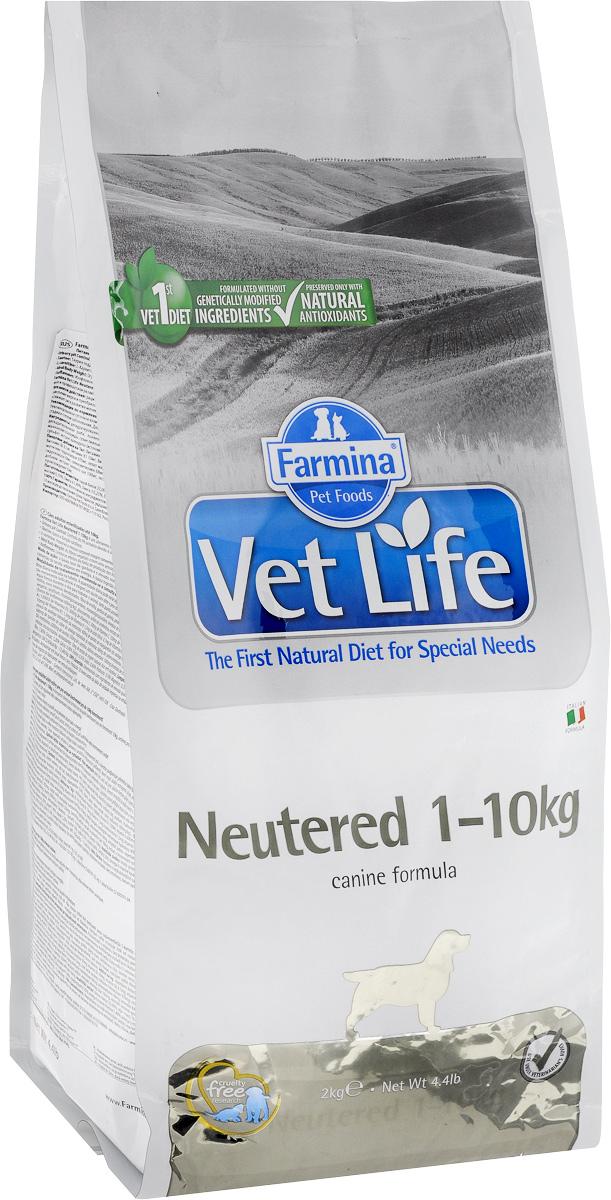 Корм сухой Farmina Vet Life для взрослых кастрированных или стерилизованных собак весом до 10 кг, диетический, 2 кг farmina сухой корм farmina matisse neutered salmon для взрослых кастрированных котов и стерилизованных кошек с лососем 1 5 кг