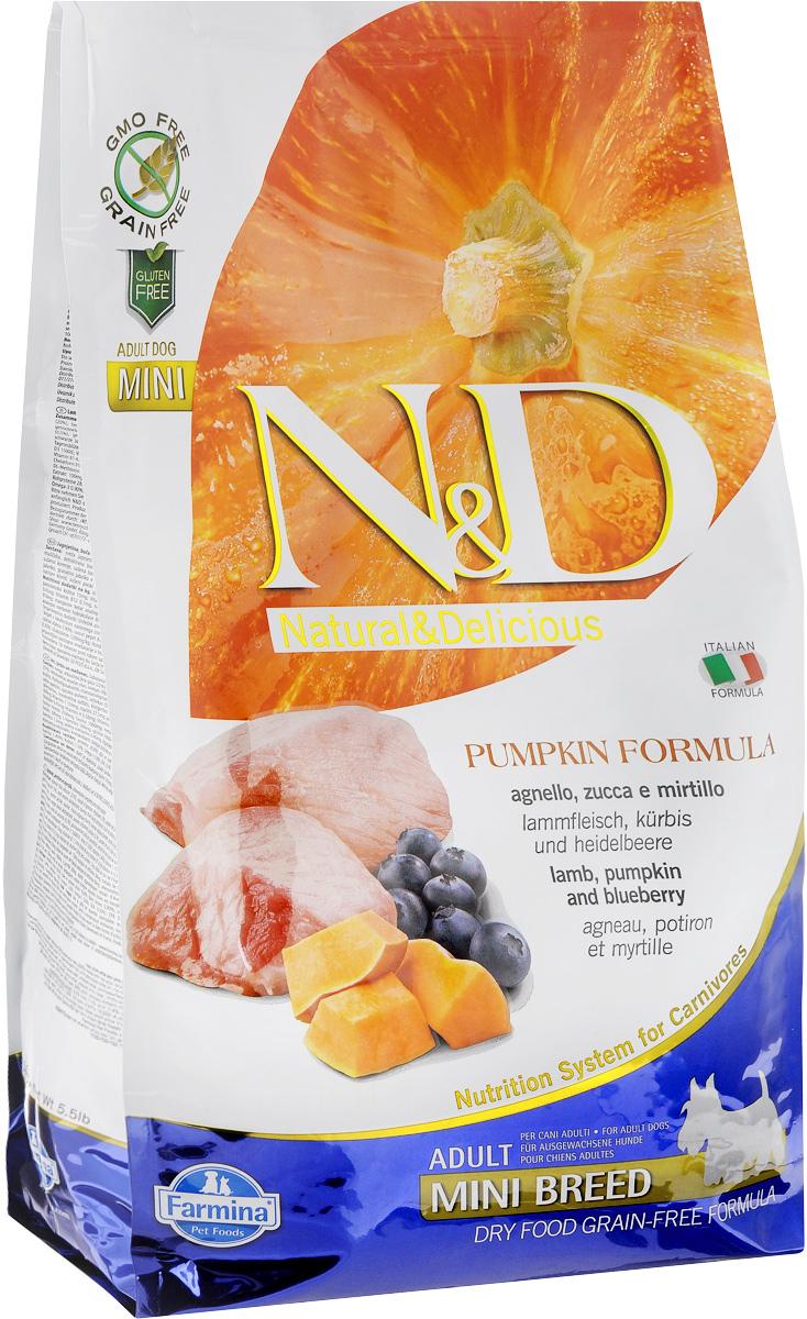 Корм сухой Farmina N&D для собак мелких пород, беззерновой, с ягненком, черникой и тыквой, 2,5 кг корм для собак хиллс d d при аллергии утка рис сух пак 5кг