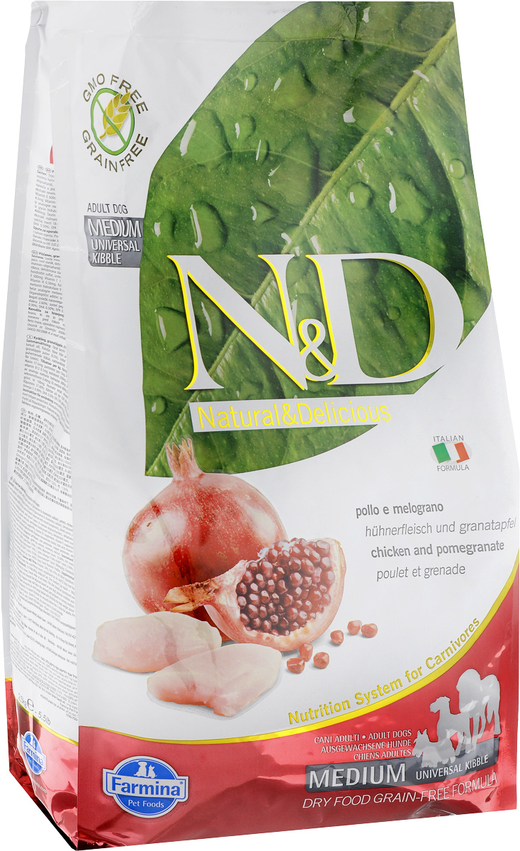 Корм сухой для взрослых собак Farmina N&D, беззерновой, с курицей и гранатом, 2,5 кг корм сухой для взрослых собак farmina n