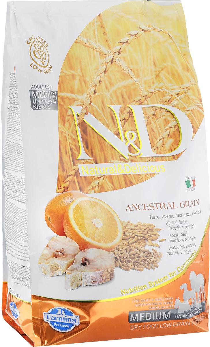Корм сухой для взрослых собак Farmina N&D, низкозерновой, с треской и апельсином, 2,5 кг farmina farmina n