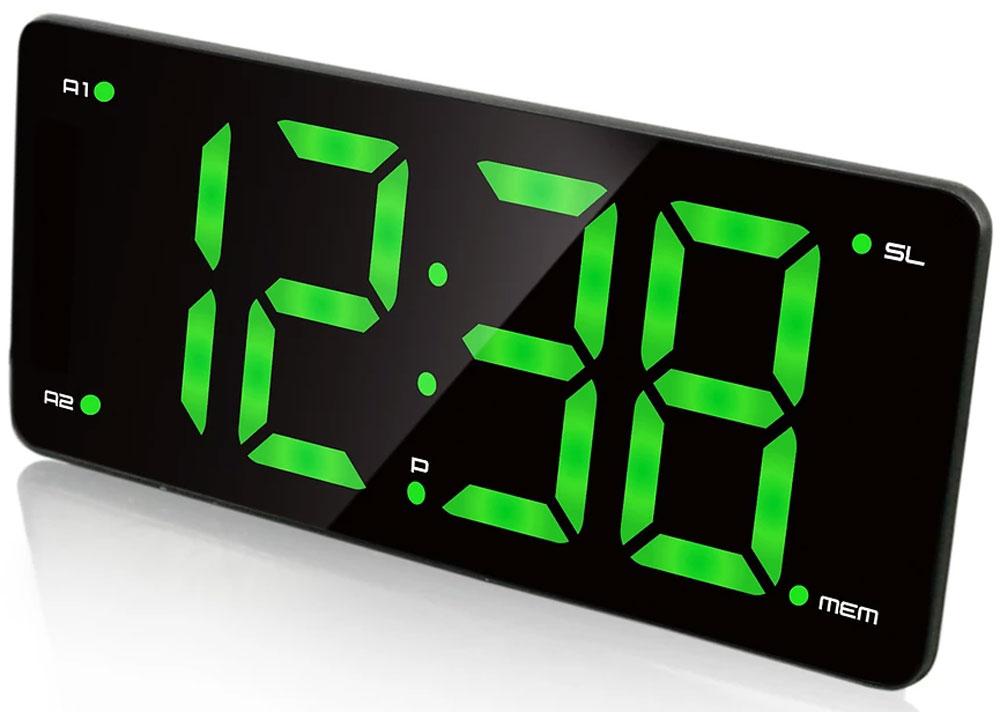 MAX CR-2910, Black Green радиобудильник4630011250772Радио-будильник MAX CR-2910 выполнен в оригинальном форм-факторе. Он займет достойное место на столе жилой комнаты или офиса.Данная модель имеет 3-дюймовый дисплей с большими цифрами зелёного цвета. Время на таком дисплее можно рассмотреть издалека, а яркость дисплея можно регулировать в соответствии с предпочтениями владельца.Производителем предусмотрены 2 будильника, которые можно установить на разное время. Мелодия постепенно усиливается, поэтому владелец гарантированно не проспит, не опоздает на работу или на важную встречу. В качестве сигнала можно использовать как зуммер, так и радио.Встроенное FM-радио обеспечит возможность слушать любимые радиостанции, быть в курсе последних событий, не скучать. В память устройства можно внести до 10 радиостанций.