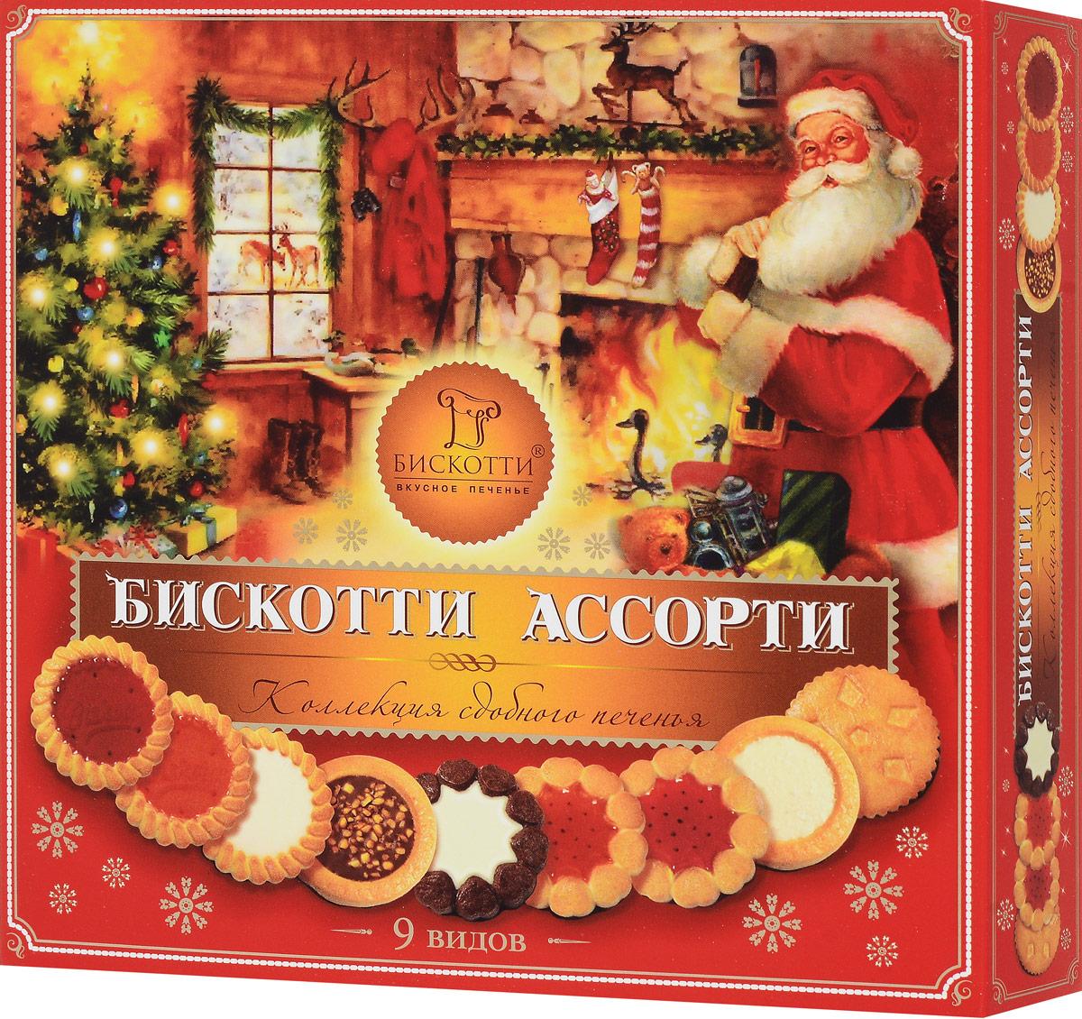 Бискотти Ассорти печенье сдобное, 345 г (9 видов) купить цельнозерновое печенье