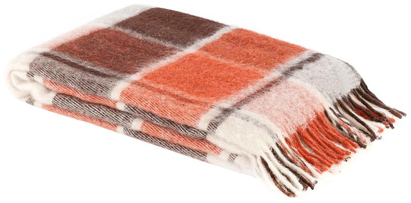 Плед Пиросмани, цвет: белый, оранжевый, темно-коричневый, 140 х 200 см. 1-206-140_171-206-140_17Мягкий и приятный плед Пиросмани изготовлен из 100% новозеландской овечьей шерсти. Плед добавит комнате уюта и согреет в прохладные дни. Такое теплое украшение может стать отличным подарком друзьям и близким! Под шерстяным пледом вам никогда не станет жарко или холодно, он помогает поддерживать постоянную температуру тела. Шерсть обладает прекрасной воздухопроницаемостью, она поглощает и нейтрализует вредные вещества и славится своими целебными свойствами. Плед из шерсти станет лучшим лекарством для людей, страдающих ревматизмом, радикулитом, головными и мышечными болями, сердечно-сосудистыми заболеваниями и нарушениями кровообращения. Шерсть не электризуется. Она прочна, износостойка, долговечна. Наконец, шерсть просто приятна на ощупь, ее мягкость и фактура вызывают потрясающие тактильные ощущения!Пиросмани - коллекция пледов с кистями, уменьшенной плотности из 100% натуральной новозеландской овечьей шерсти. Характеристики:Материал: 100% новозеландская овечья шерсть. Цвет: белый, оранжевый, темно-коричневый. Размер пледа: 140 см х 200 см. Размер упаковки: 48 см х 10 см х 37 см. Артикул: 1-206-140_17.