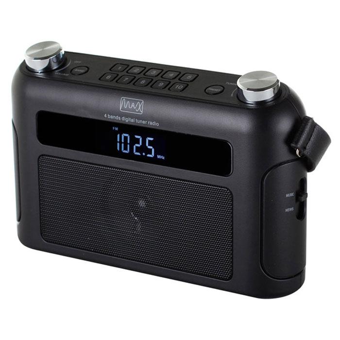 MAX MR-310Т, Black портативный радиоприемник4630011250567Радиоприёмник MAX MR-310T оснащен тюнером, который работает с радиостанциями частотных диапазонов FM, SW, MW и LW. Настройка на радиостанцию осуществляется с помощью цифровой шкалы.Модель может работать в зоне неустойчивого приёма FM сигнала. Этот радиоприёмник укомплектован телескопической антенной, улучшающей качество транслируемого сигнала. Тюнер настраивается вручную или в автоматическом режиме. При этом в память приёмника можно записать до 40 понравившихся станций, по 10 на каждый диапазон от FM до LW.Тип батарей: LR-14