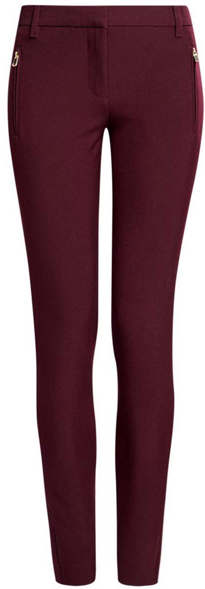 Купить Брюки женские oodji Collection, цвет: бордовый. 21706018-1/43804/4901N. Размер 40 (46-170)
