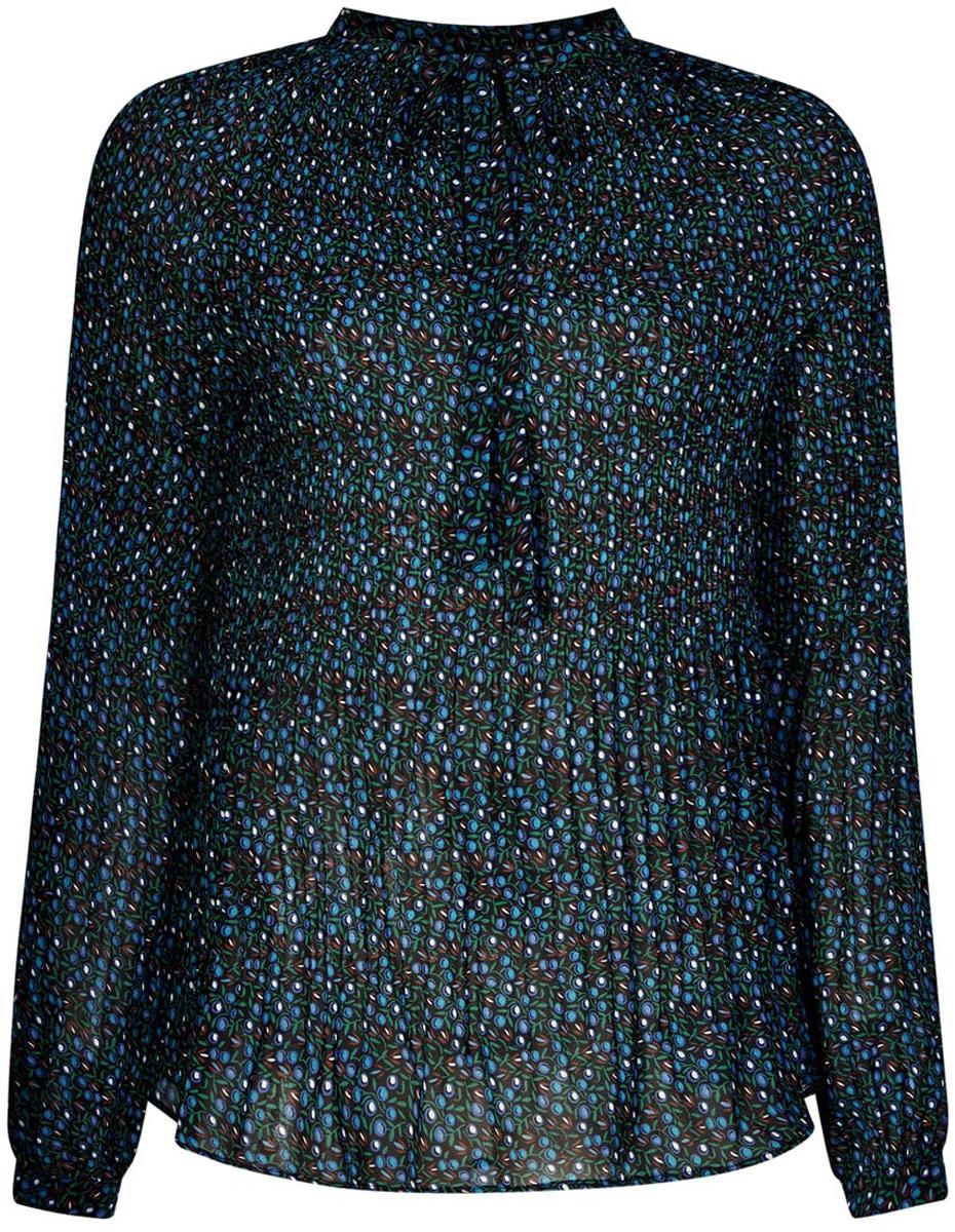 Блузка женская oodji Ultra, цвет: черный, синий. 11414005/46166/2975F. Размер 40 (46-170)11414005/46166/2975FЖенская блузка oodji Ultra полностью выполнена из полиэстера. Модель из гофрированной ткани с воротником-аскот, узким вырезом на груди и длинными рукавами-реглан. Рукава дополнены манжетами с пуговицами.