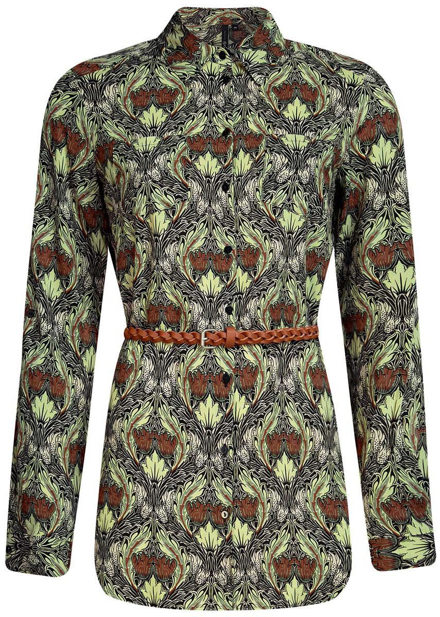 Блузка женская oodji Collection, цвет: черный, светло-зеленый. 21412057-4/24681/2960E. Размер 36 (42-170)21412057-4/24681/2960EСтильная женская рубашка oodji Collection выполнена из качественной вискозы. Модель с отложным воротником и длинными рукавами застегивается на пуговицы по всей длине. Рубашка удлиненной модели дополнена стильным ремешком из искусственной кожи и двумя накладными карманами спереди. Манжеты рукавов оснащены застежками-пуговицами, а также их можно сделать покороче с помощью внутреннего хлястика на пуговице. Модель оформлена контрастным принтом с узорами. Рукава дополнены манжетами с кнопками.