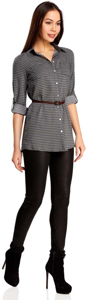 Купить Блузка женская oodji Collection, цвет: черный, белый. 21412057-4/24681/2912G. Размер 36 (42-170)