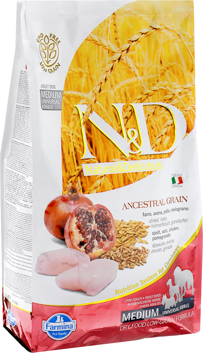 Корм сухой для взрослых собак Farmina N&D, низкозерновой, с курицей и гранатом, 2,5 кг21489Сухой корм Farmina N&D является низкозерновым и сбалансированным питанием для взрослых собак всех пород. Изделие имеет высокое содержание витаминов и питательных веществ. Сухой корм содержит натуральные компоненты, которые необходимы для полноценного и здорового питания домашних животных.Товар сертифицирован.