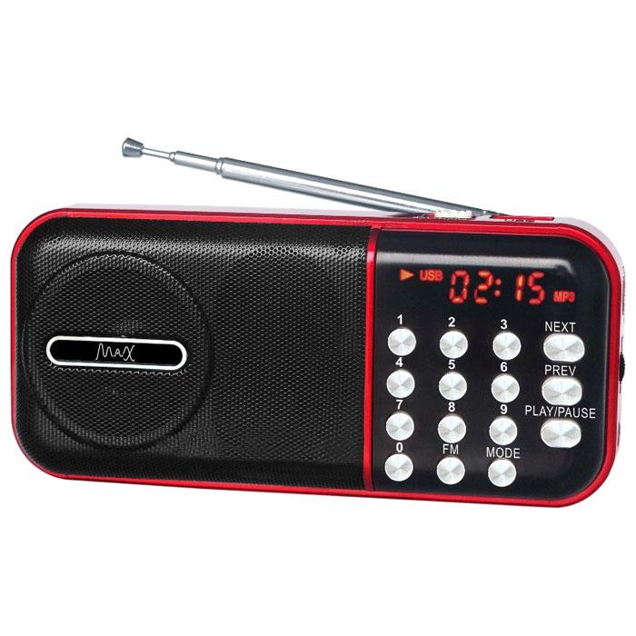 MAX MR-321, Red Black портативный радиоприемник с MP34630011250949MAX MR-321 портативный радиоприемник, который воспроизводит станции FM-диапазона и аудиофайлы с карт памяти и флешек.Slim дизайнКрасный LED дисплейFM радиоСменный аккумулятор (BL-5С)Время воспроизведения: до 6 часов