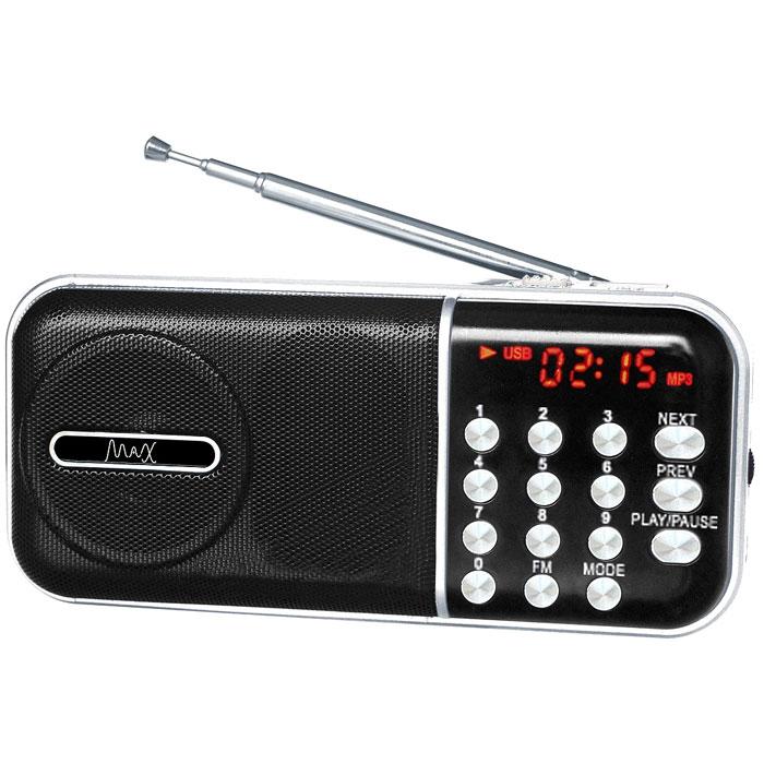 MAX MR-321, Silver Black портативный радиоприемник с MP34630011250956MAX MR-321 портативный радиоприемник, который воспроизводит станции FM-диапазона и аудиофайлы с карт памяти и флешек.Slim дизайнКрасный LED дисплейFM радиоСменный аккумулятор (BL-5С)Время воспроизведения: до 6 часов