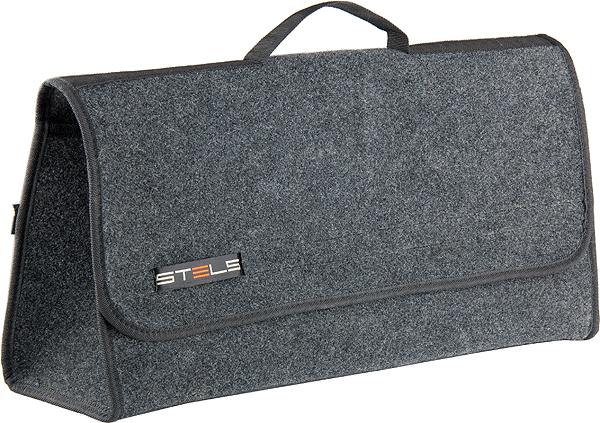 Органайзер автомобильный Stels Войлок в багажник54394Органайзер для компактного размещения автомобильного инструмента и принадлежностей. Материал обладает водоотталкивающими и грязезащитными свойствами. Идеально крепится на ковре багажника при помощи липучек.