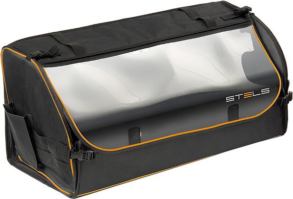Органайзер автомобильный Stels в багажник, универсальный54396Органайзер выполнен из прочного полиэстера. Основа стенок — легкий и прочный сотовый поликарбонат. Легко собирается и складывается. Замки и молния дублируются пластиковыми замками-защелками. Для увеличения объема внутренняя перегородка может убираться к задней стенке. При необходимости прозрачная крышка фиксируется кнопочными защелками.