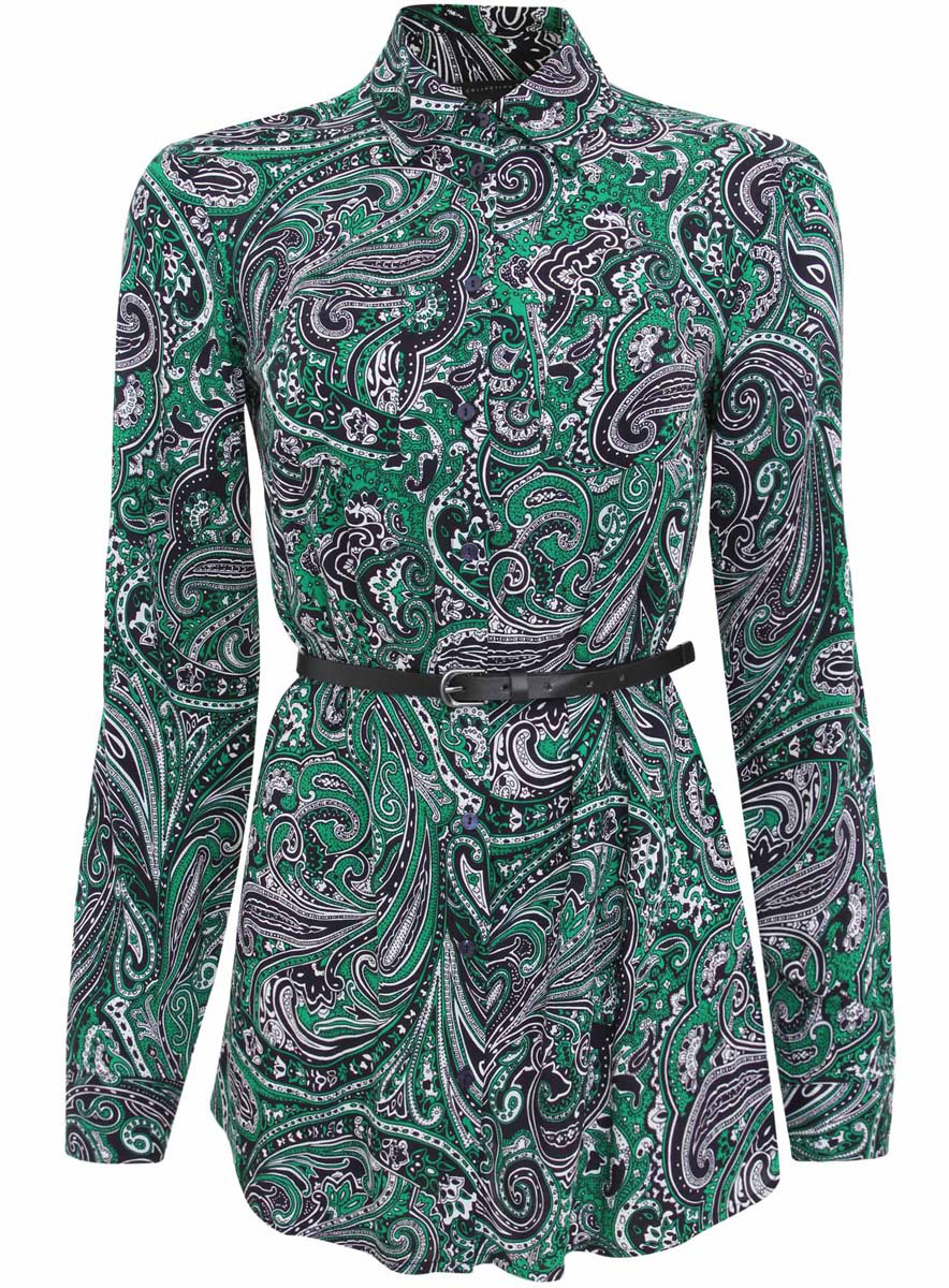 Блузка женская oodji Collection, цвет: темно-синий, зеленый. 21412057-4/24681/7962E. Размер 36 (42-170)21412057-4/24681/7962EСтильная женская рубашка oodji Collection выполнена из качественной вискозы. Модель с отложным воротником и длинными рукавами застегивается на пуговицы по всей длине. Рубашка удлиненной модели дополнена стильным ремешком из искусственной кожи и двумя накладными карманами спереди. Манжеты рукавов оснащены застежками-пуговицами, а также их можно сделать покороче с помощью внутреннего хлястика на пуговице. Модель оформлена контрастным принтом с узорами. Рукава дополнены манжетами с кнопками.