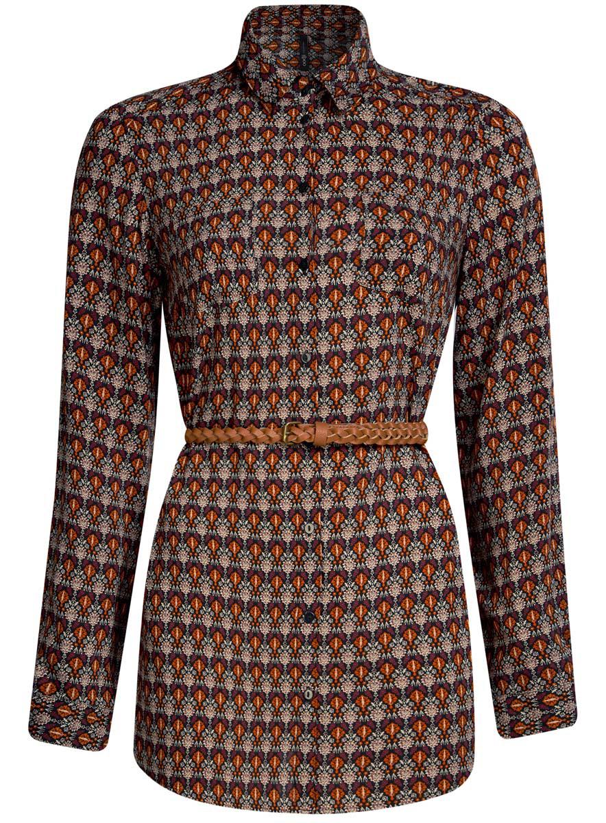 Блузка женская oodji Collection, цвет: оранжевый, бежевый. 21412057-4/24681/5533E. Размер 42 (48-170)21412057-4/24681/5533EСтильная женская рубашка oodji Collection выполнена из качественной вискозы. Модель с отложным воротником и длинными рукавами застегивается на пуговицы по всей длине. Рубашка удлиненной модели дополнена стильным ремешком из искусственной кожи и двумя накладными карманами спереди. Манжеты рукавов оснащены застежками-пуговицами, а также их можно сделать покороче с помощью внутреннего хлястика на пуговице. Модель оформлена контрастным принтом с узорами. Рукава дополнены манжетами с кнопками.