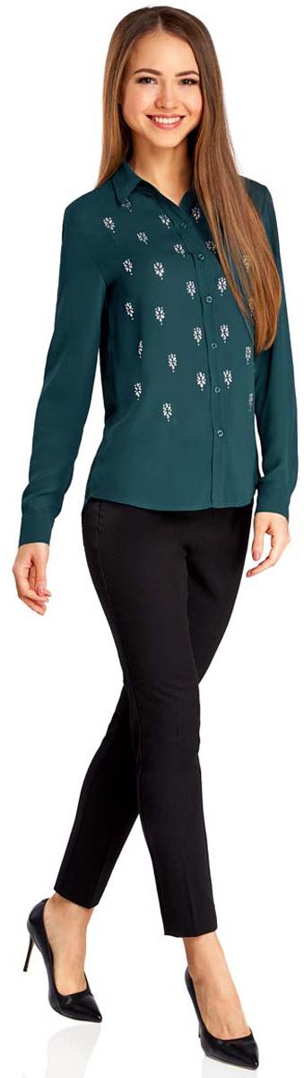 Купить Блузка женская oodji Ultra, цвет: темно-изумрудный. 11411128/36215/6C00N. Размер 34 (40-170)