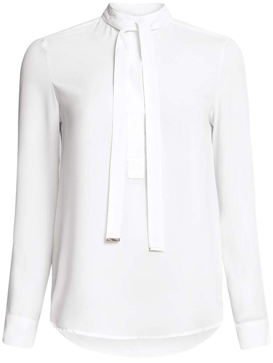 Блузка женская oodji Collection, цвет: белый. 21411094/36215/1200N. Размер 46 (52-170) блузка oodji блузка
