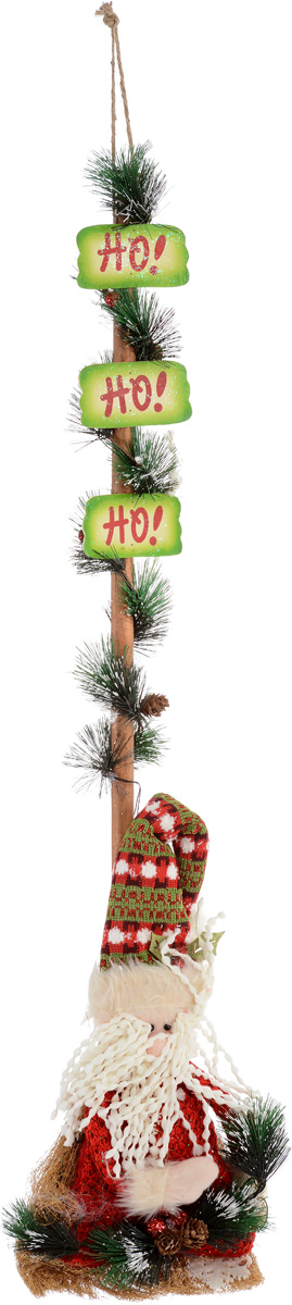 """Новогоднее подвесное украшение Christmas Time """"Дед  Мороз""""  отлично подойдет для праздничного декора дома в  преддверии праздников. Изделие выполнено в виде  сидящего Деда Мороза с еловой веточкой на венике и  украшено подсветкой (включатель находится внутри  игрушки Деда Мороза). Черенок веника декорирован  тремя табличками с надписью """"Ho!"""", мишурой с  шишками. Вы можете поставить или повесить такую  композицию в любое понравившееся вам место.  Новогодние украшения несут в себе волшебство и  красоту праздника. Они помогут вам украсить дом к  предстоящим праздникам и оживить интерьер по вашему  вкусу. Создайте в доме атмосферу тепла, веселья и  радости, украшая его всей семьей. Украшение работает от 3 батареек типа ААА (в комплект  не входят)."""