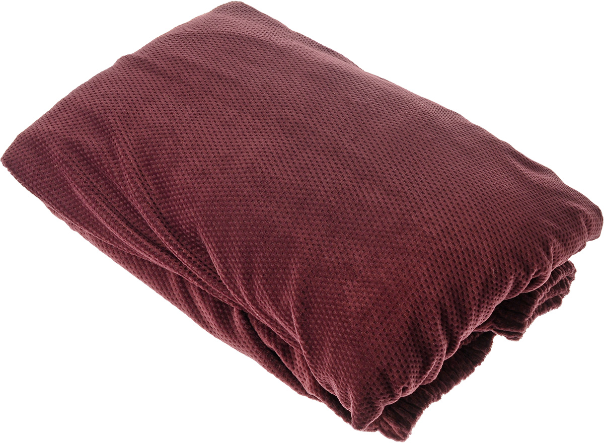 Чехол на кресло Медежда Бирмингем, цвет: красно-коричневый1401031110002Чехол на кресло Медежда Бирмингем изготовлен из стрейчевого велюра (100% полиэстера). Тонкий геометрический дизайн добавляет уют помещению. Велюр - по праву один из уверенных лидеров среди мебельных тканей. Поверхность велюра приятна для прикосновений. Сочетание нежности и прочности - визитная карточка велюра. Вещи из него даже спустя много лет смотрятся, как новые. Чехол легко растягивается и хорошо принимает форму кресла, подходит для большинства стандартных кресел с шириной спинки от 80 до 110 см и высотой не более 95 см. За счет специальных фиксаторов чехол прочно держится на мебели, не съезжает и не соскальзывает. Имеется инструкция в картинках по установке чехла. Ширина спинки: 85-105 см. Длина подлокотника: 60-80 см. Высота сидения от пола: 45-50 см. Глубина сидения: 45-55 см.