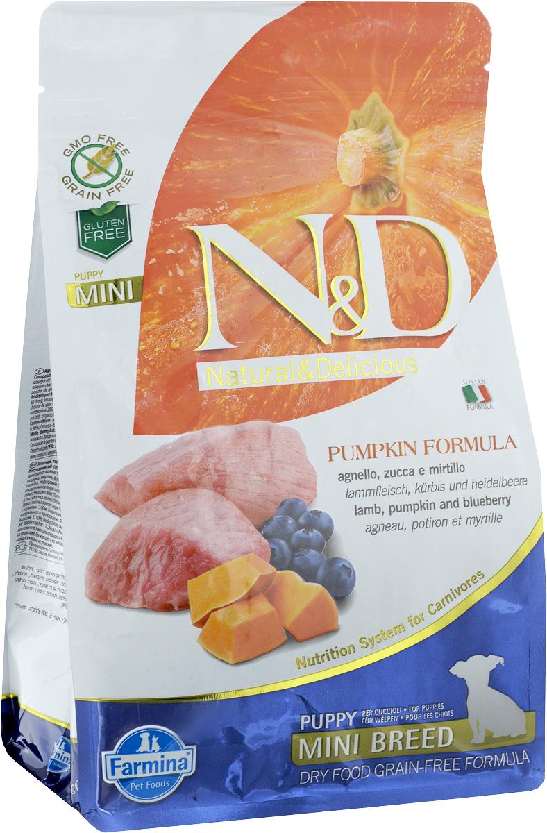 """Корм сухой Farmina """"N&D"""" для щенков мелких пород, беззерновой, с ягненком, черникой и тыквой, 800 г"""