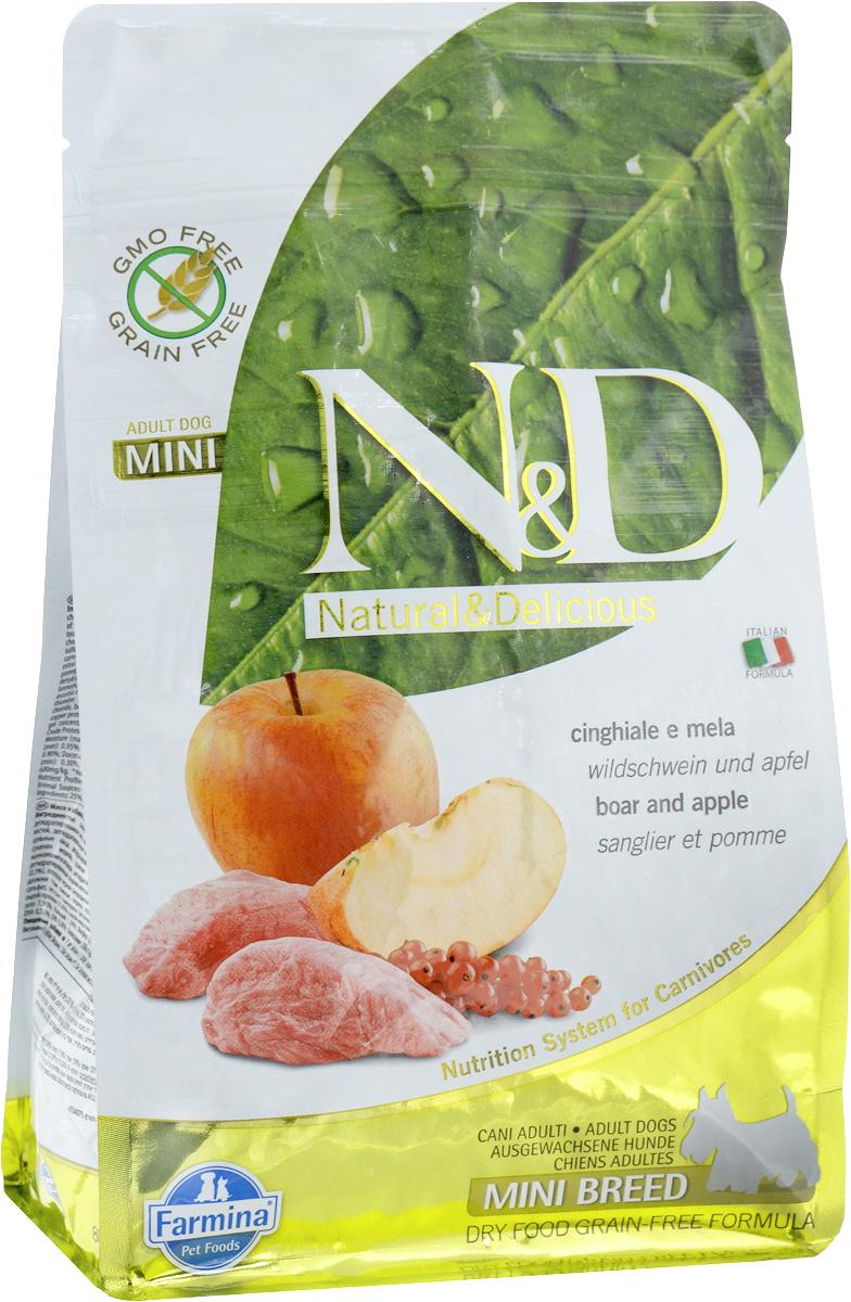 Корм сухой Farmina N&D для собак мелких пород, беззерновой, с кабаном и яблоком, 800 г корм для собак хиллс d d при аллергии утка рис сух пак 5кг