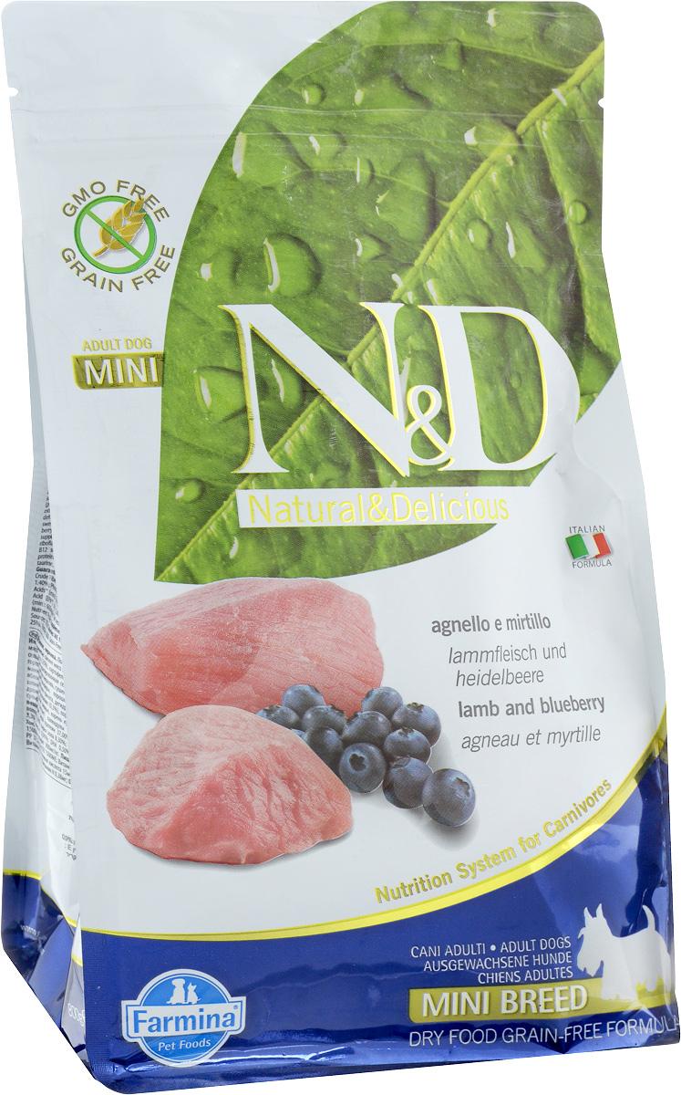 Корм сухой Farmina N&D для собак мелких пород, беззерновой, с ягненком и черникой, 800 г корм для собак хиллс d d при аллергии утка рис сух пак 5кг