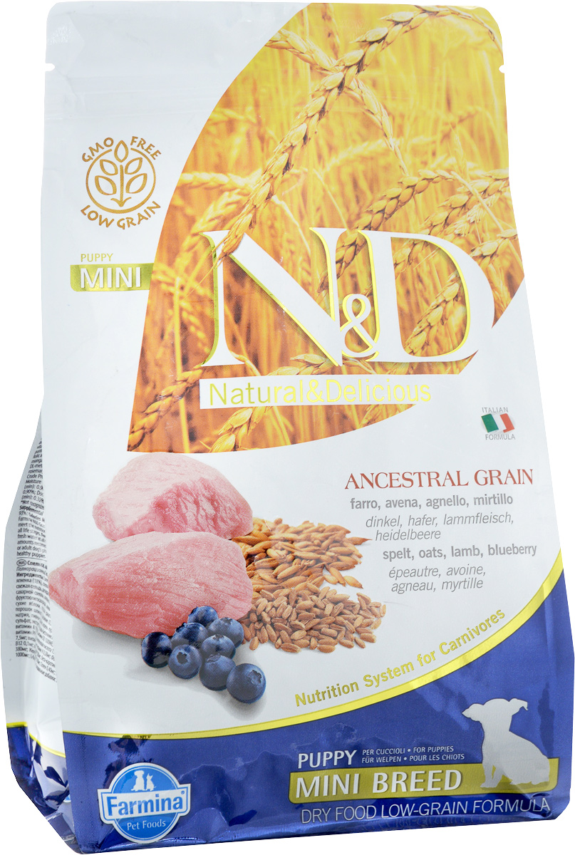 Корм сухой Farmina N&D для щенков мелких пород, низкозерновой, с ягненком и черникой, 800 г33697Сухой корм Farmina N&D является низкозерновым и сбалансированным питанием для щенков мелких пород, также подходит для беременных и кормящих собак. Изделие имеет высокое содержание витаминов и питательных веществ. Сухой корм содержит натуральные компоненты, которые необходимы для полноценного и здорового питания домашних животных.Товар сертифицирован.
