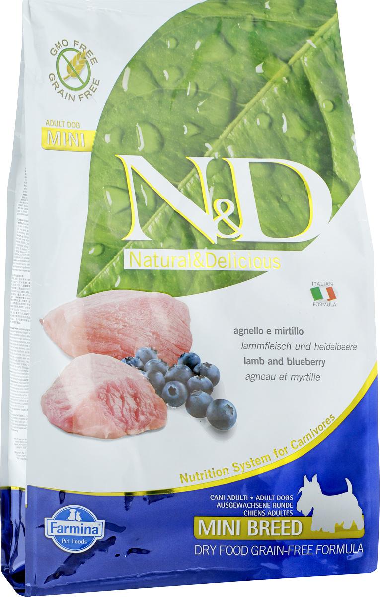 Корм сухой Farmina N&D для собак мелких пород, беззерновой, с ягненком и черникой, 2,5 кг