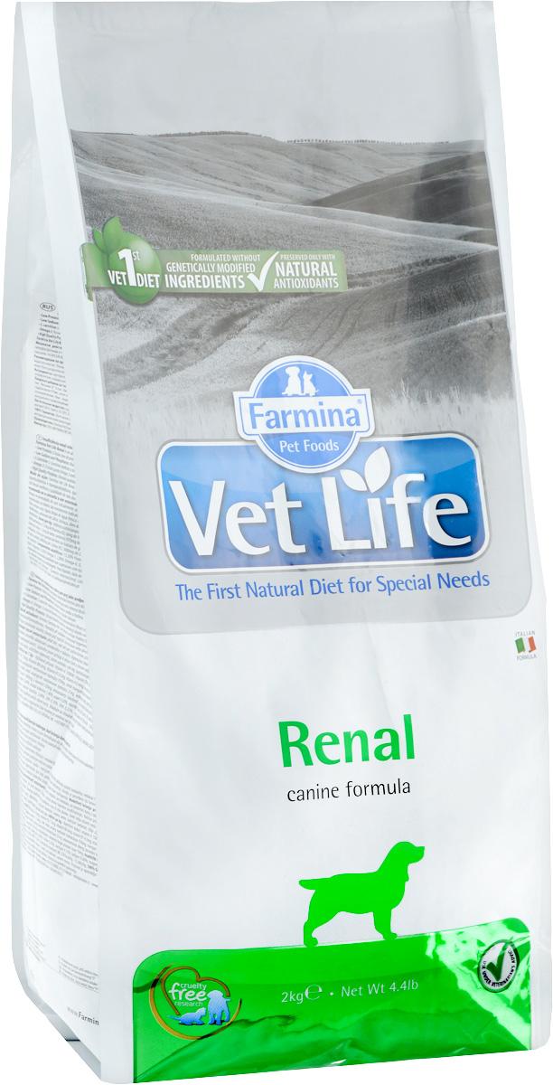 Корм сухой Farmina Vet Life для собак, диетический, для поддержания функции почек, в случаях почечной недостаточности, 2 кг сухой корм farmina vet life diabetic feline диета при сахарном диабете для кошек 2кг 25326