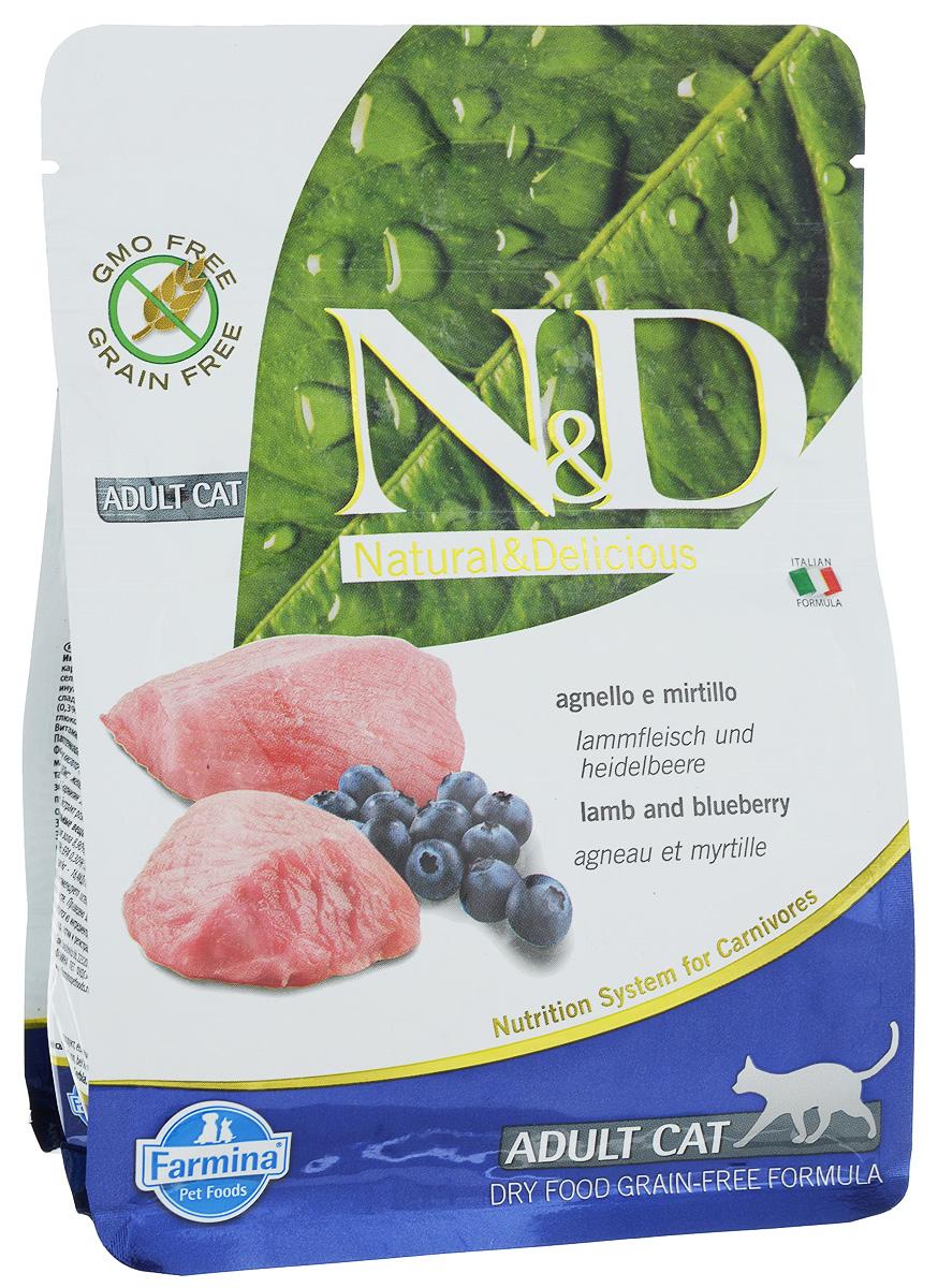 """Корм сухой Farmina """"N&D"""", для взрослых кошек, беззерновой, с ягненком и черникой, 300 г"""