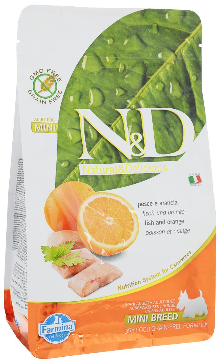 Корм сухой Farmina N&D для собак мелких пород, беззерновой, с рыбой и апельсином, 800 г корм для собак хиллс d d при аллергии утка рис сух пак 5кг