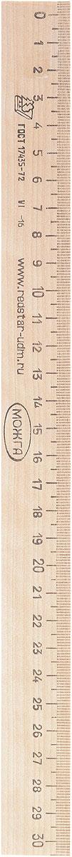 Красная звезда Линейка 30 смС07Ученическая линейка Красная звезда изготовлена из твердолиственных пород древесины и имеет износостойкую одностороннюю миллиметровую шкалу до 30 см. Цифры нанесены крупным шрифтом и не вызывают затруднений при чтении.