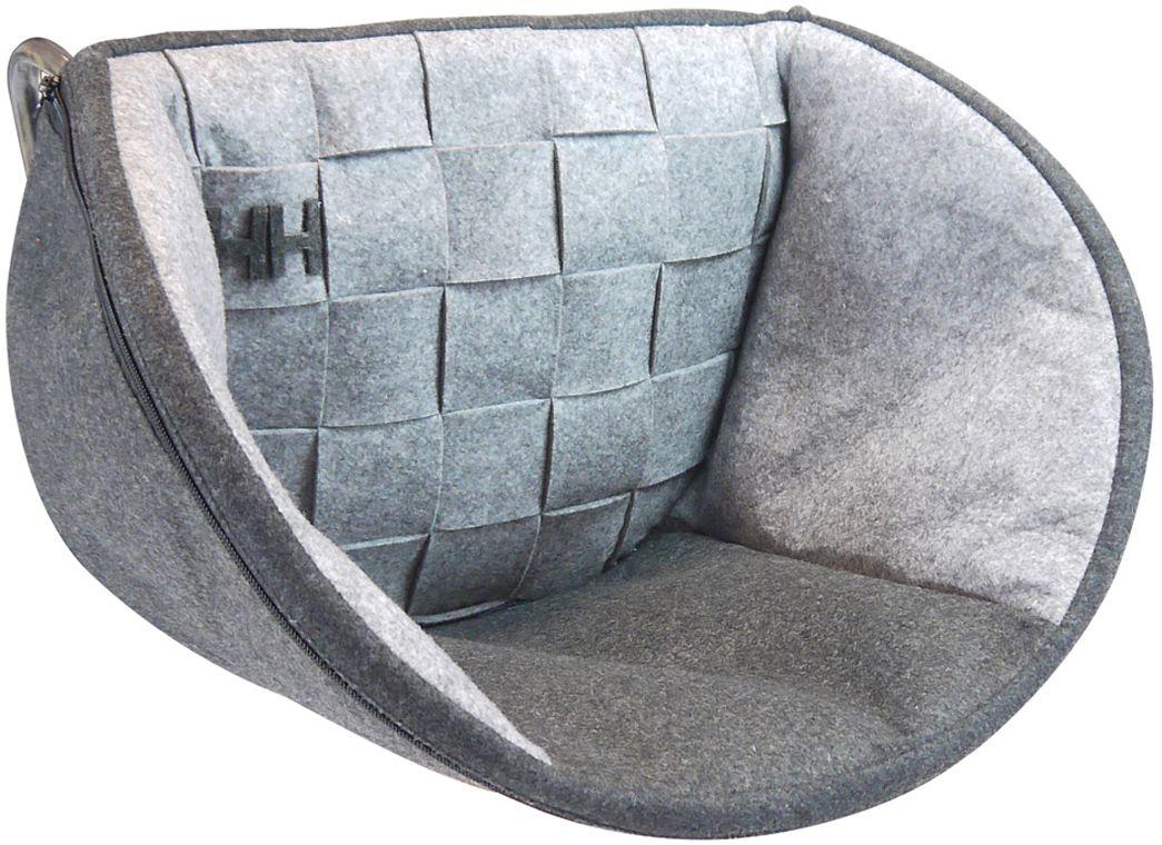 Лежак для животных Happy House Felt, на радиатор, цвет: серый, 48 х 30 х 30 см лежак для кошек triol гамак на радиатор 46 30 белый